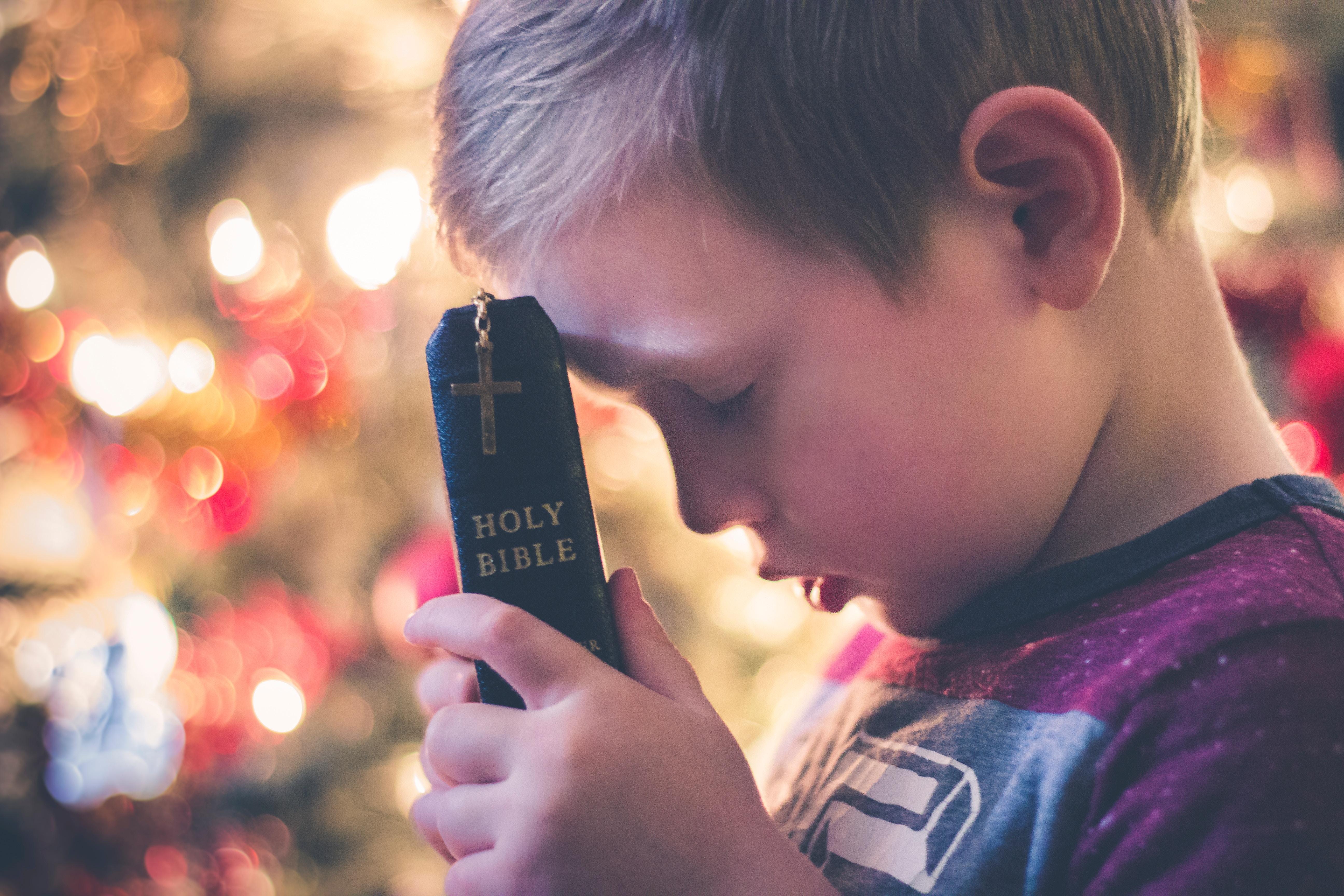 Betender Junge hält eine Bibel in der Hand.