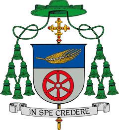 Das Wappen des neuen Weihbischofs zeigt eine Kornähre und das Osnabrücker Rad; unten steht sein Leitspruch (Bild: Bistum Osnabrück)