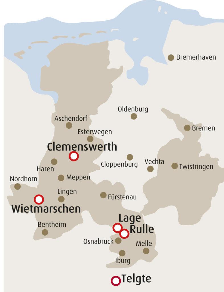 Karte Wallfahrtsorte Bistum Osnabrück