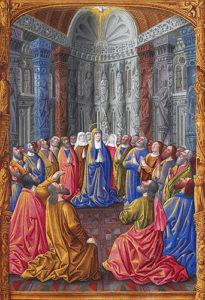 Darstellung des Pfingstwunders (Bild: commons.wikimedia.org, Les Très Riches Heures du duc de Berry, Folio 79r - Pentecost the Musée Condé, Chantilly)