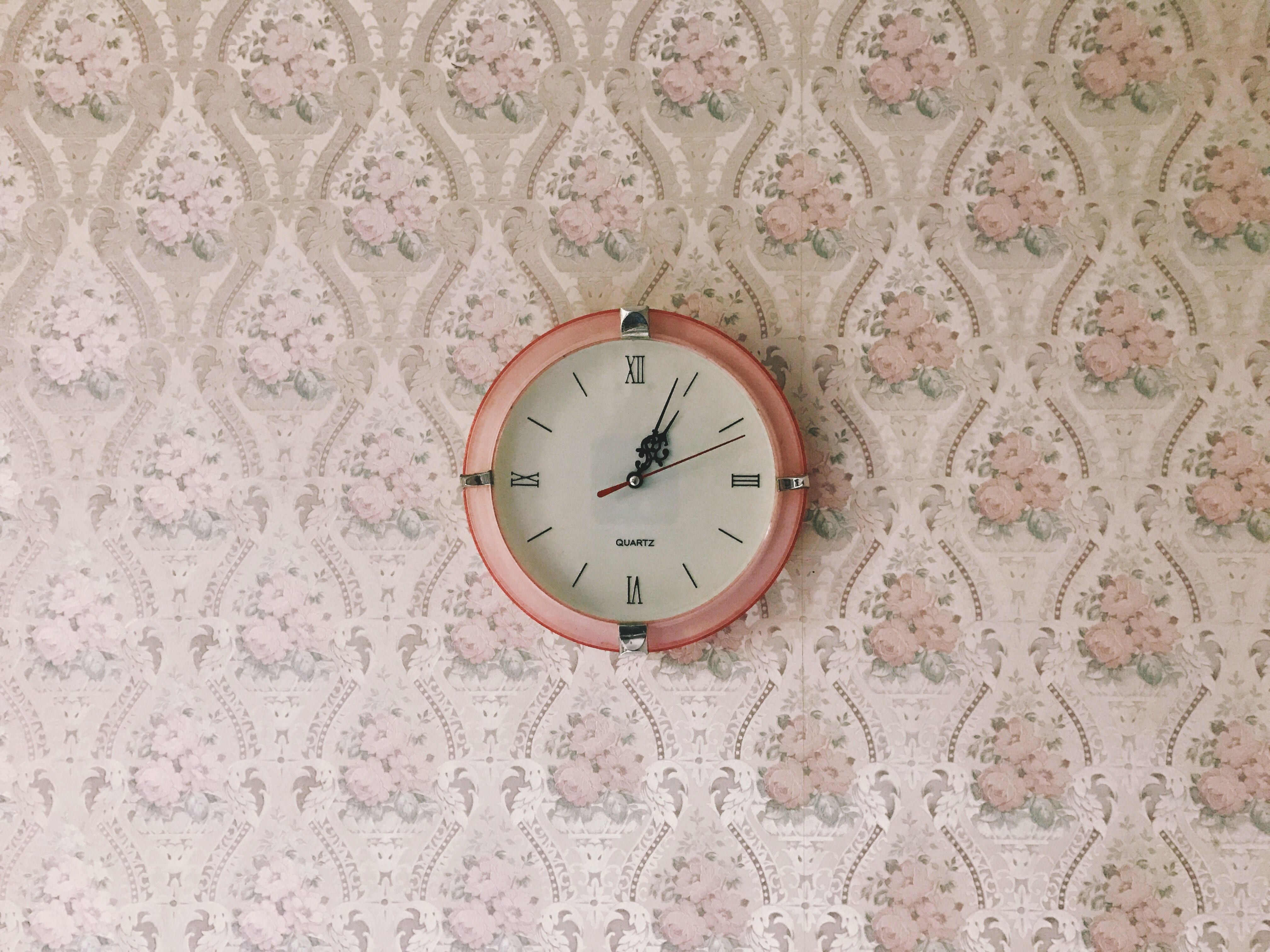 Uhr, Zeit, Tapete, Zimmer, Blumenmuster