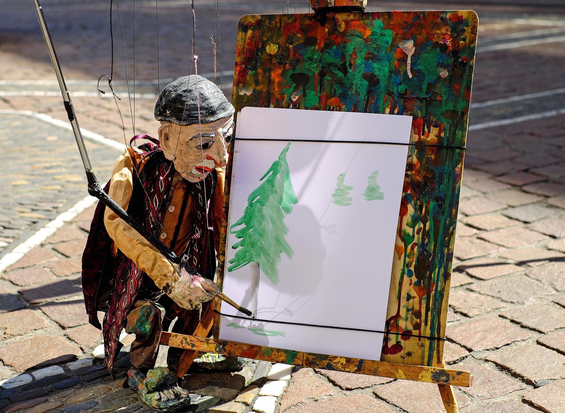 Marionette mit Staffelei
