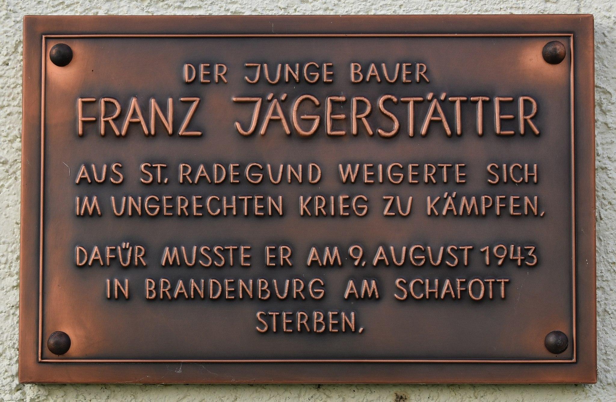 Gedenktafel Franz Jägerstätter