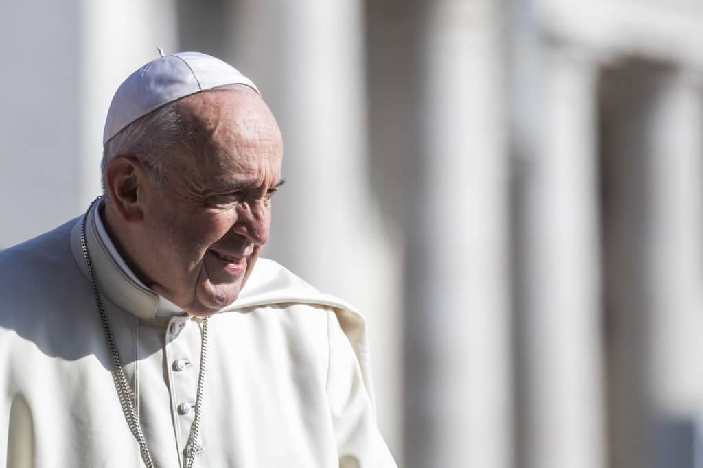 Papst Franziskus während der Generalaudienz am 17. April 2019 auf dem Petersplatz im Vatikan