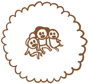 Kinder sitzen zusammen, gezeichnet