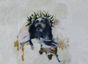 Portrait von Jesus an einer Mauer