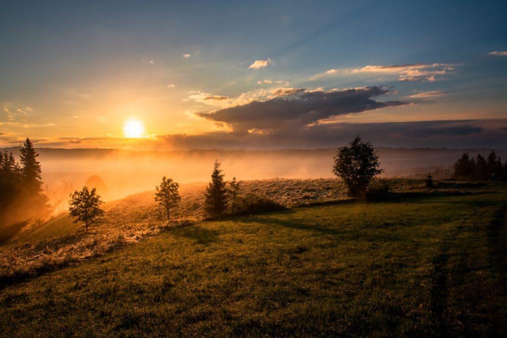 Sonnenaufgane mit Nebel