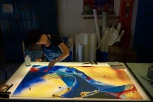 Bearbeitung der Werke vom Kim En Joong in der Glasmalerei Peters