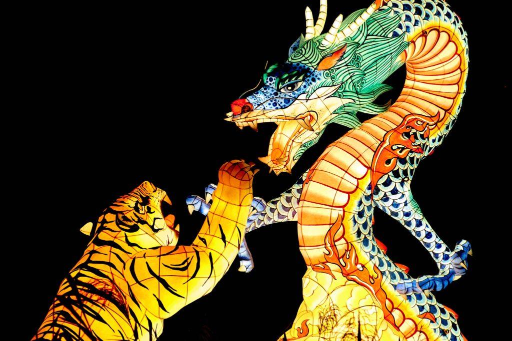 beleuteter Tiger und Drache