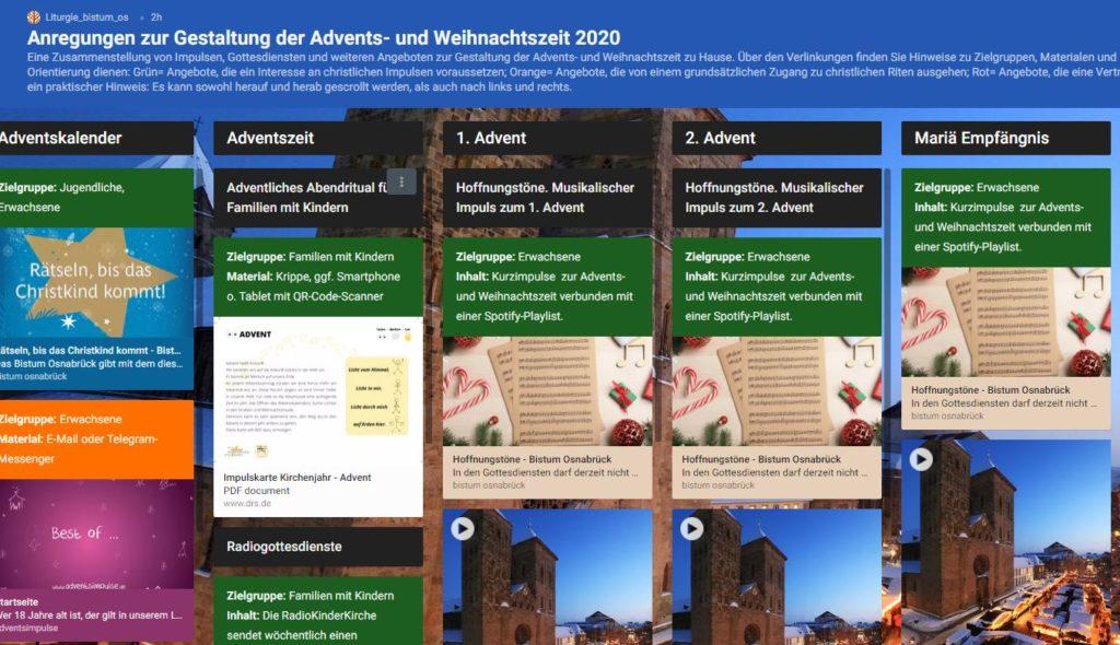 padlet Advent und Weihnachten Bistum Osnabrück