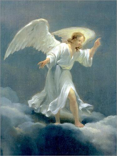 Ein Engel mit langem Flügel steht auf Wolken.