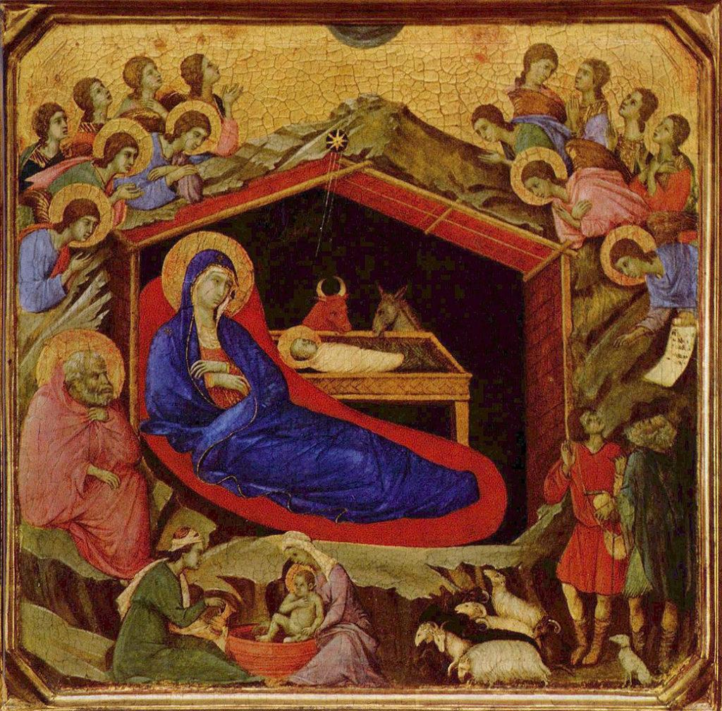 Maria sitzt mit dem Jesuskind in der Krippe umringt von Engeln