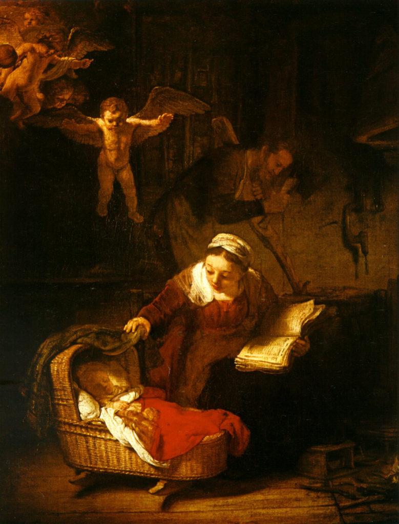 Maria und das Kind in der Krippe, umgeben von Engeln
