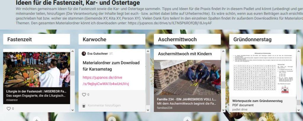 Screenshot padlet Fastenzeit
